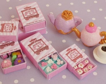 PRINTABLE MINIATURE BOX Pdf file Dollhouse miniature cookies pastries sweet boxes-Pink