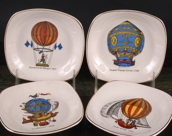 Crown Staffordshire Canape Plates, Hot Air Balloons, Set of 4 Plates