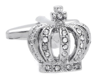 Silver & Crystal Crown Cufflinks