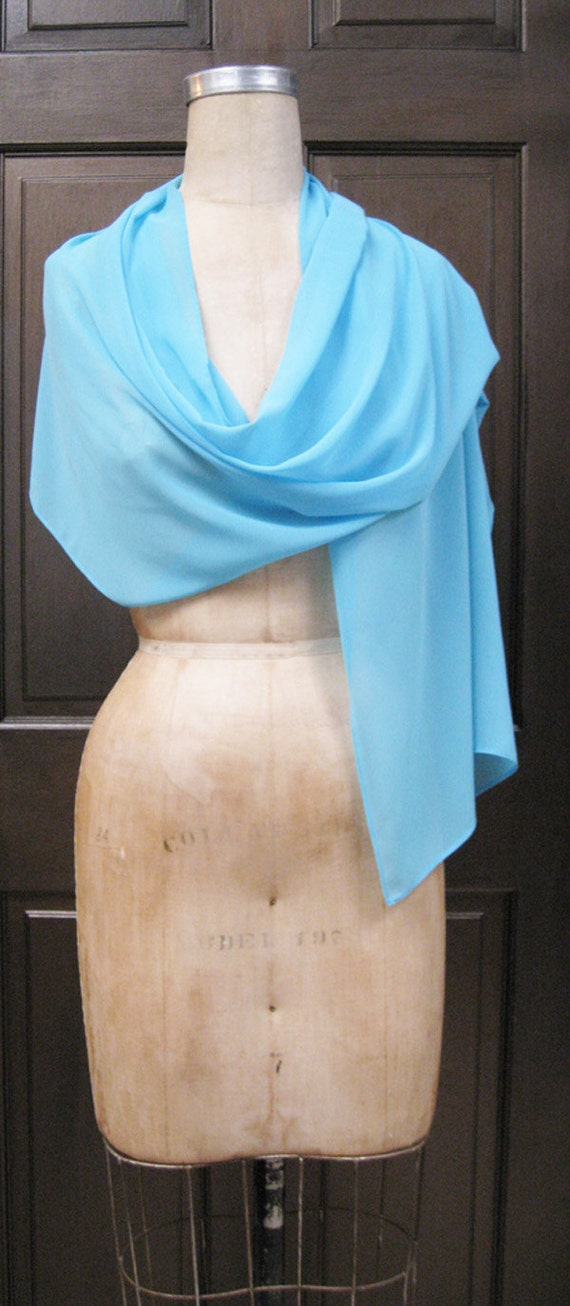Turquoise  Chiffon Shawl Wrap Scarf