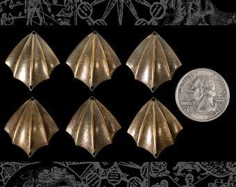Six Antiqued Brass Bat Wing Connectors * AB-2C51