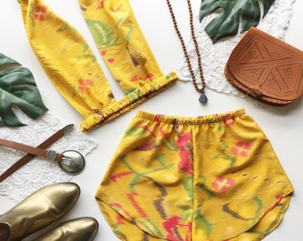 Festival Outfit Matching set floral yellow bralette halter crop top and high waist racer shorts