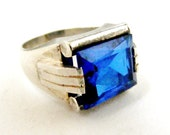 1930s art deco tank ring in French silver and faux sapphire, Jewish history.