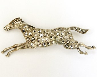 Antique race horse brooch, silver plated brass and glass marcasites