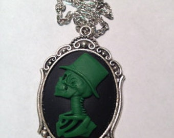 Green Zombie Cameo Necklace // Green Husband Skeleton Cameo Pendant