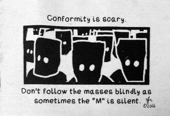 Art Punk Patches Punk Patch Print Political Punk Conformity is Scary Masses without the M Crass Tragedy Crust Anarcho DIY Small Cloth Patch