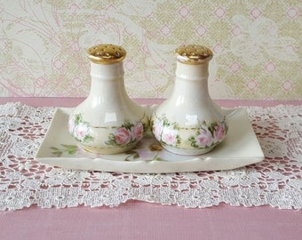 Dainty Shabby Chic Antique Salt and Pepper Shakers, Mismatched Tray Set
