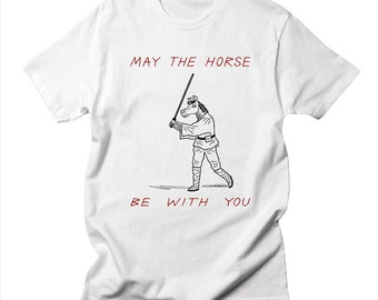 May The Horse Be With You - Star Wars inspired - Mens / Womens illustrated T-shirt / Tee by Oliver Lake - iOTA iLLUSTRATiON