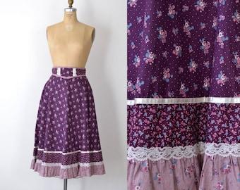 1970s Gunne Sax Skirt / 70s Ditsy Floral Skirt