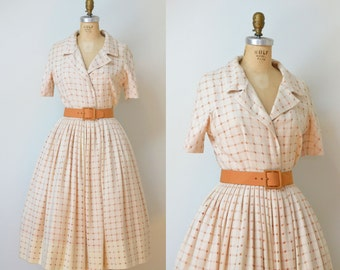 1950s Cream Wool Dress / 50s Bud Kilpatrick Designer Shirtwaist Dress