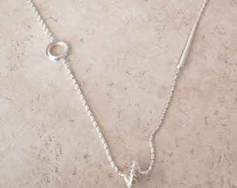 Sterling Chain Necklace Modernist Offset Asymmetrical Look Endless 34 Inch Vintage 050216RV