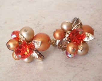 Orange Cluster Earrings Vendome Faceted Beads Faux Pearls Gold Tone Leaves Clip On Vintage