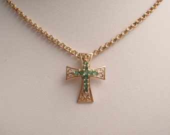 Emerald Cross Necklace 14K Yellow Gold 20 Inch Chain Vintage CW0329