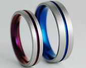 Wedding Bands , Titanium Rings , Titanium Wedding Ring Set , Titanium Bands , Promise Rings , The Orion Bands with Comfort Fit Interiors
