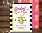 Pineapple Birthday Party Invitations - Girl's Summer Birthday Party Invite - Hot Pink, Gold, Yellow, Black - Modern Pool Party Invite