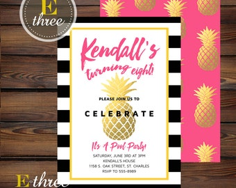 Pineapple Birthday Party Invitations - Girl's Birthday Invite - Hot Pink, Gold, Yellow, Black - Modern Pool Party