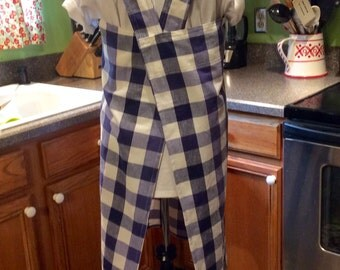 SALE-Large Japanese style utility apron, Royal blue and white checked, cross back apron, no ties, pinafore, smock