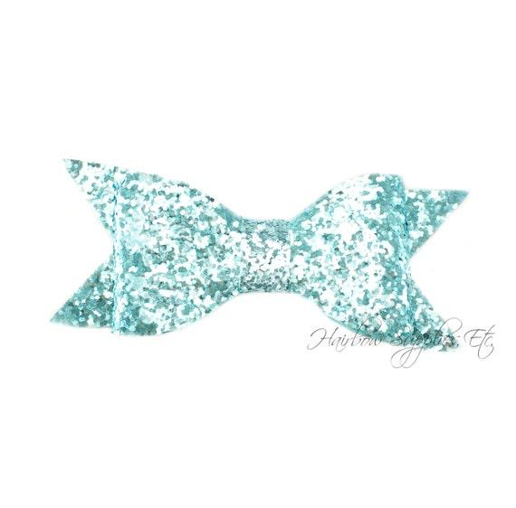 Aqua Thin Glitter Bows 4 inch - Aqua Glitter Hair Bow, Aqua Glitter Bows, Aqua Glitter Bow Headband, Aqua Glitter Bow Tie, Glitter Bows