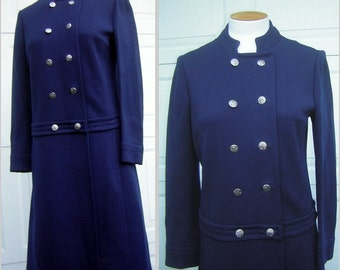 "Navy Blue MOD Military Cadet Style Vintage 60s Coat Dress Heavy Wool BUTTE KNIT  - Size S to M Bust 40"" - Clearance"