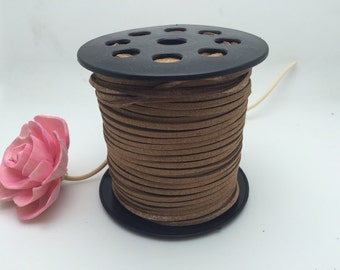 100Yard 3mm Camel Flat Faux Suede Leather Cord, 3mm DIY Cord Supplies, Faux Suede Lace