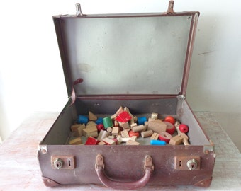 VIntage Suitcase with over 50 pieces of vintage blocks