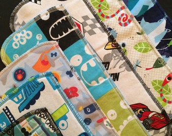 Cloth Diaper Inserts, Boy Print Diaper Doublers, Diaper Soakers, Pack of 12