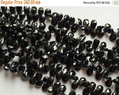 50% ON SALE Black Spinel, Black Spinel Faceted Pear Bead, Gemstone Briolettes, Black Beads, Spinel Necklace, 7x8-7x12mm Approx, 5 Inch Stran