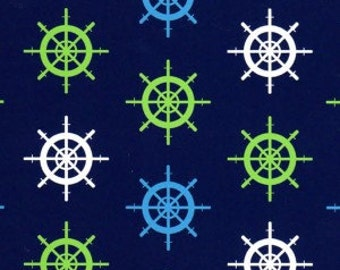 Fabric Finders Blue, White, and Lime Shipwheels on Navy Blue