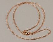 "Solid 14k Rose Gold Cable Chain - 1.1mm OR 1.5mm chain link width sizes. Lobster clasp. Available in 18"" & 16"" as well as custom lengths."