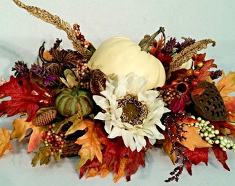 NEW LISTING Fall Bountiful Harvest Centerpiece Floral Arrangement White Pumpkin Sunflowers Professionally designed by Cabin Cove Creations