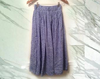 80s Blue White Polka Dot Gathered Full Skirt with Elastic Waist size Medium