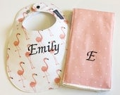 Monogrammed Bib and Burp Cloth Set - Pink Flamingos - Monogrammed Baby Gift - Personalized Bib - Personalized Baby Flamingo Bib