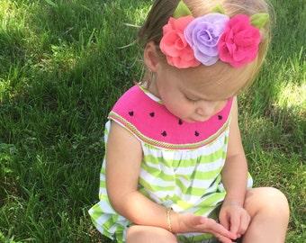 Chiffon Flower Headband - Coral, Lavender and Hot Pink - Baby Headband - Infant Headband - Flower Crown- Toddler Headband- Flower Child
