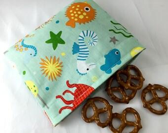 Reusable Snack Bag - Reusable Baggie - Ocean Snack Bag - Fabric Snack Bag - Reusable Fabric Snack Bag - Riley Blake Ocean Main Teal