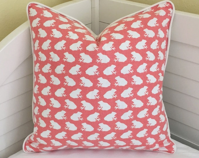 Little Frogs in Coral Pink Designer Pillow Cover with Piping, 18x18