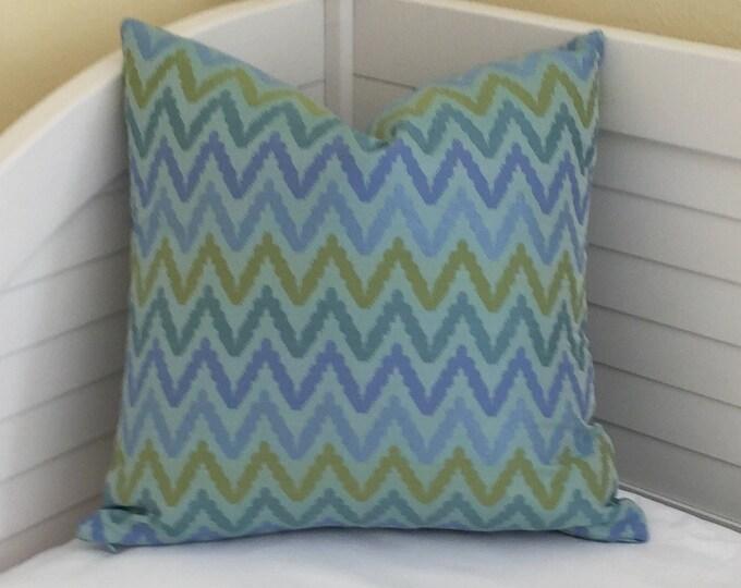Thibaut Sausalito Aqua Blue Zig Zag Designer Pillow Cover - Square, Euro, Lumbar and Body Pillow Sizes