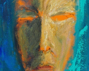 Tribal Abstract Face Original 11x14 Acrylic Painting by Paul Piasecki
