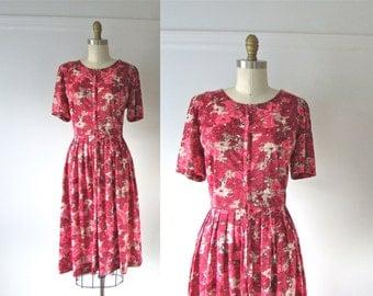 vintage 1950s dress / 50s dress / Bright Bouquet