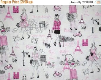 ON SALE Pink Black and Silver Metallic Girls Paris Print Pure Cotton Fabric--One Yard