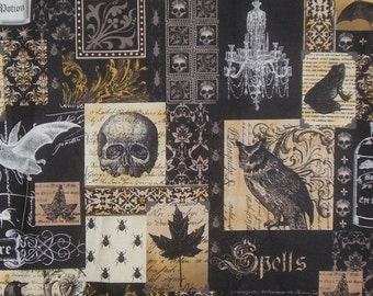 ON SALE Black and Gold Nevermore Collage Print Pure Cotton Fabric from Michael Miller--One Yard