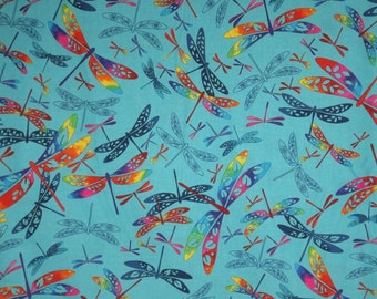Rainbow Dragonflies on Turquoise Print Pure Cotton Fabric--One Yard