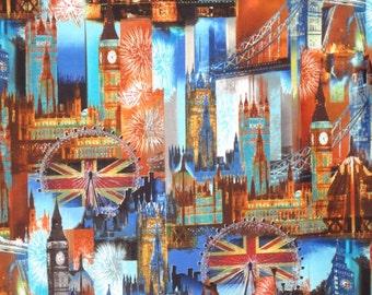Colorful London Landmarks Cityscape Print Pure Cotton Fabrics--One Yard