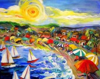 Beach Landscape Original painting canvas art  22 x 24 Art by Elaine Cory