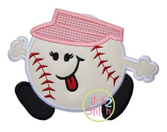 Baseball Run Girl Applique Design In Hoop Size(s) 4x4, 5x7 & 6x10,  INSTANT DOWNLOAD now available