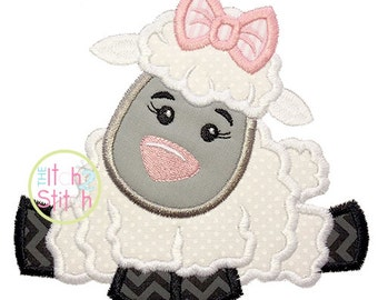 "Easter Lamb Girl Applique Design, Shown with our ""Falling Slowly"" Font NOT Included, in sizes 4x4, 5x7, & 6x10,  Instant download"