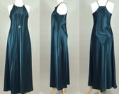 RESERVED for Erosilly: 80s Maxi Dress / Vintage 80s Racerback Maxi Dress / 1980s Green Satin Dress / Vintage 80s Dress / Vintage 1980s Dress