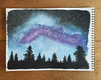 Violet Milky Way - Original Milky Way Watercolor Painting 9x12