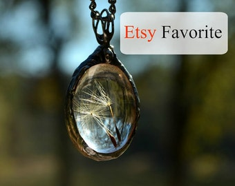 Oval Dandelion Necklace Terrarium Jewelry Real Dandelion Seeds Encased Dandelion Necklace (2248)