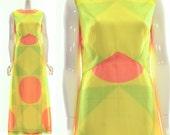 Vintage Rare DAY GLOW Mid Century Maxi Dress Chiffon NEON Geometric Print Cut Long Dress Small