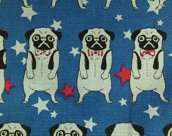 "Gentleman Pug - 3 colors -1 yard - cotton linen,dog fabric,Dutch bulldog , Check out with code ""5YEAR"" to save 20% off"